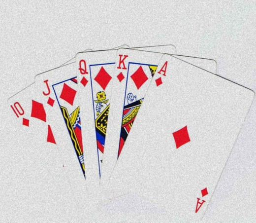 Royal flush clip art with grain effect