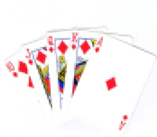 Royal flush clip art with pixel effect