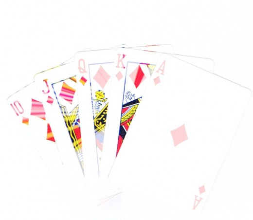 Royal flush clip art with splash effect