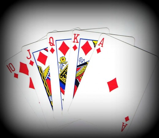 Royal flush clip art with vignette effect