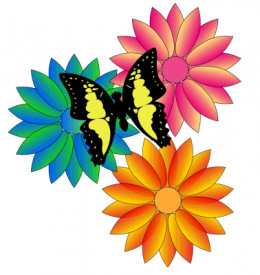Flowers and Butterfly Clipart