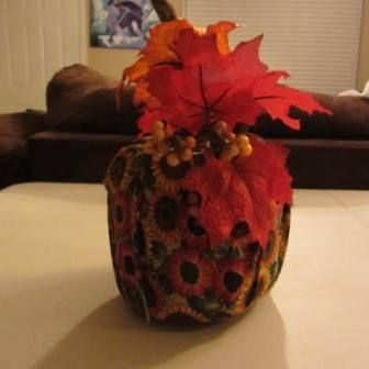 Easy No-Sew Fabric Pumpkin