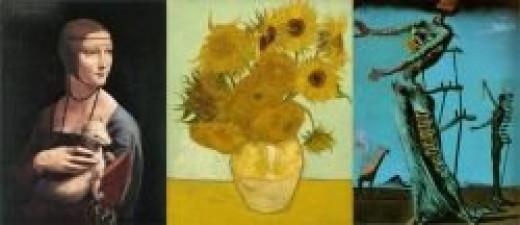Leonardo da Vinci, Vincent van Gogh, Salvador Dali