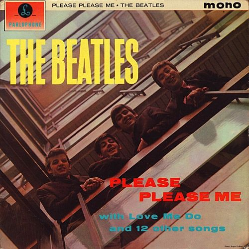 "The Beatles ""Please Please Me"" Parlophone Records PMC 1202 12"" Vinyl Record UK Pressing Black Label Gold Print  (1963)  Album Cover Photo by Angus McBean"