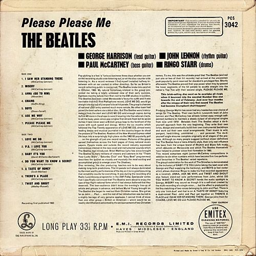 "The Beatles ""Please Please Me"" Wrap Around Cover Straight Cut Corner Catalog No PCS 3042 Printed on Upper Right Corner Back Cover (1963) Album Cover Printed at Ernest J Day & Co Ltd"