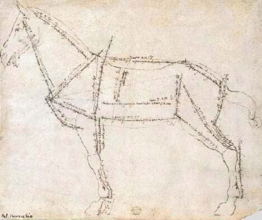 Famous Horse Drawing by Andrea del Verrocchio