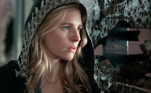 Brit Marling wearing a fashion hoodie in The East.