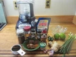 Here's Wolffie Posing with Ingredients for Jamaican Jerk Sauce!