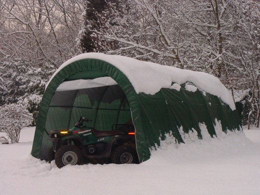 12x20x8 1-Car Rhino Brand Portable Garage with Snow!