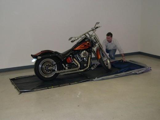 The CycleShelter Motorcycle Shelter Opened Up