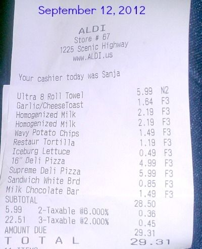 My Aldi Receipt