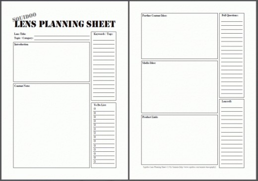 Sammie's Squidoo Lens Planning Worksheet