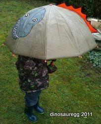 My son was pleased when I brought his dino umbrella to preschool