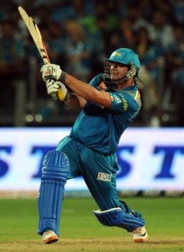 Pune Warriors batsman Jesse Ryder plays a shot against Chennai Super Kings during their IPL-5