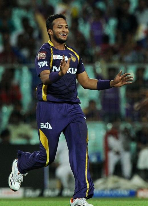 Shakib Al Hasan celebrates a wicket, Kolkata Knight Riders