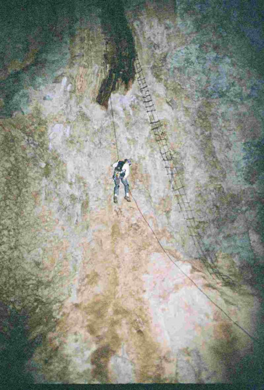 The Long Rapel Into Deep Cave