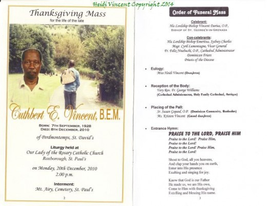 Front of Dad's Funeral booklet - Heidi Vincent