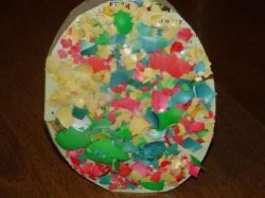 Glue the Easter Egg Shells Mosaic Fashion