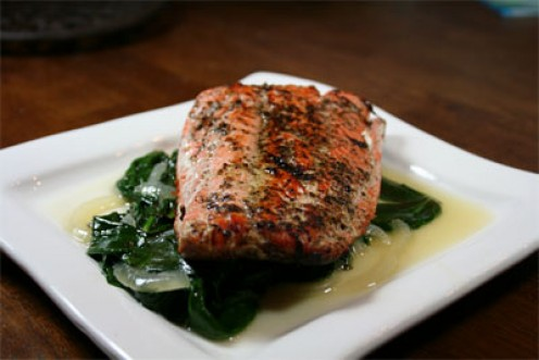 Salmon on a Bed of Spinach