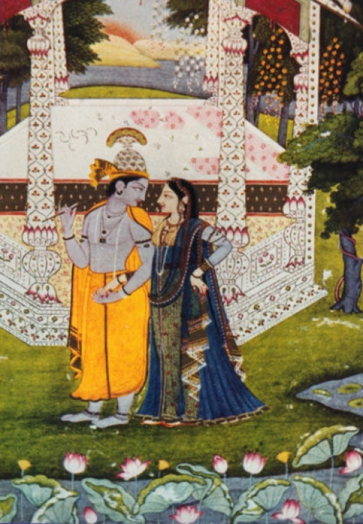 Krishna with Radha, 18th C Rajasthani painting
