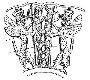 Sumerian serpent god Ningizzida accompanied by two gryphons