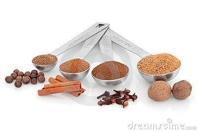 Assorted Sweet Baking Spices:  Cinnamon, Clove, Nutmeg, Ginger, Cardamom, Mace, Pumpkin, Apple Pie, Chai, Anise