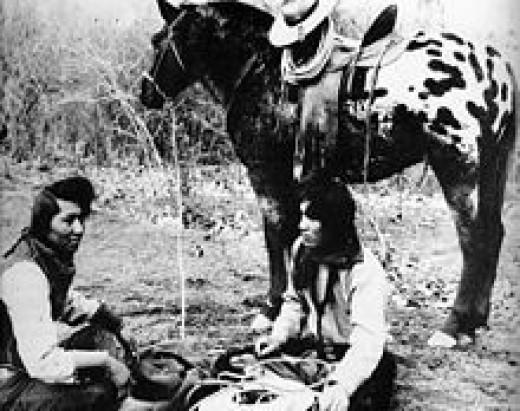 Nezperc Indians with an Appaloosa circa 1895