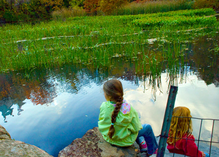Two girls by The Pond on an autumn afternoon.