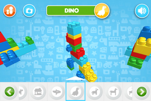 A screen shot of the Mega Bloks free building app.