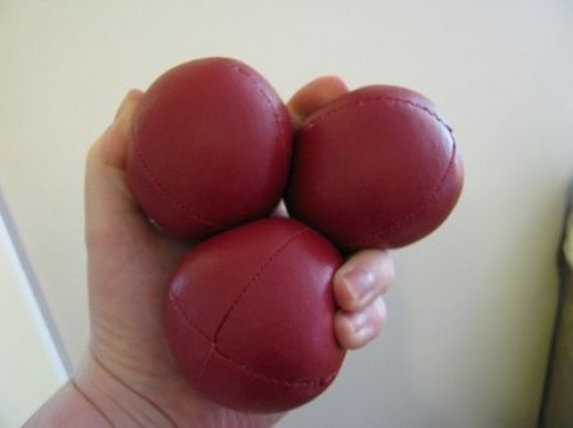 These are my professional juggling balls. It took me months to teach myself to juggle. These balls have been worked in and are fabulous.