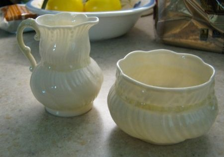 This very delicate Irish sugar and cream set was a gift from my MIL. It is very elegant, completely the opposite of myself.