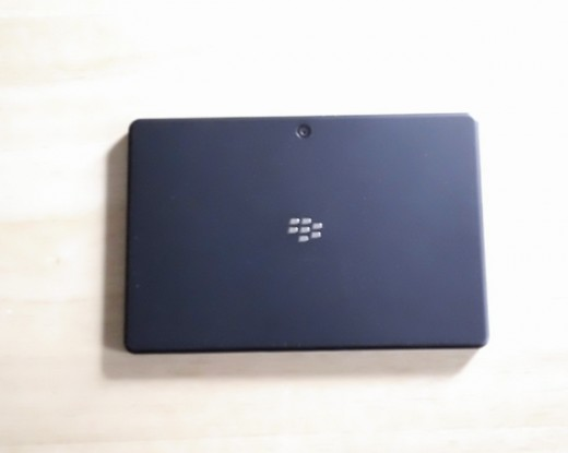 The back of our Blackberry with center brand logo.