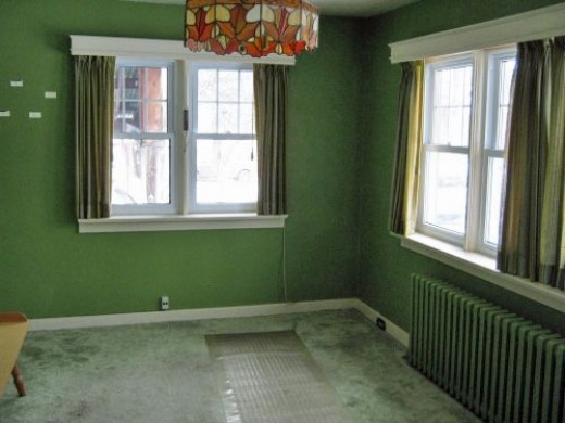 The view of the dining room from one of the kitchen doorways.