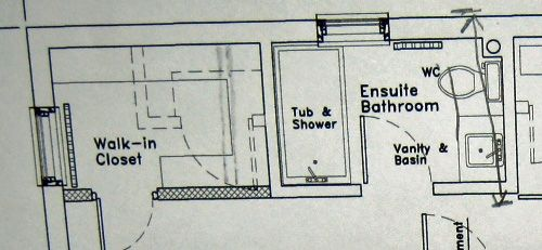 Here is the floor plan of the bathroom and the neighboring walk in closet.