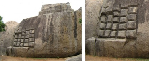 Fig.2 Left abondoned carving work. Right: Enlarged carved area.