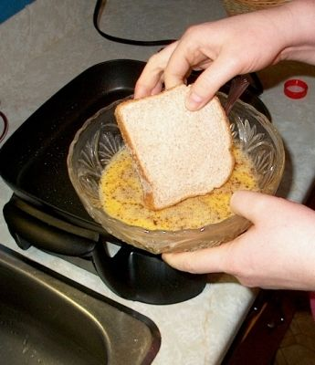 Add bread to egg mixture.