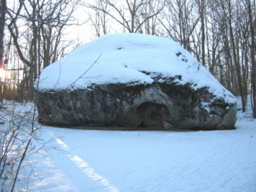 Glacial Erratic Covered in Snow