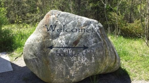 The welcome rock. Not the Bleasdell Boulder.