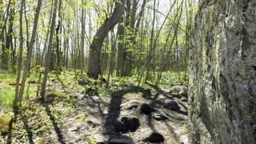 Going around left side of boulder.
