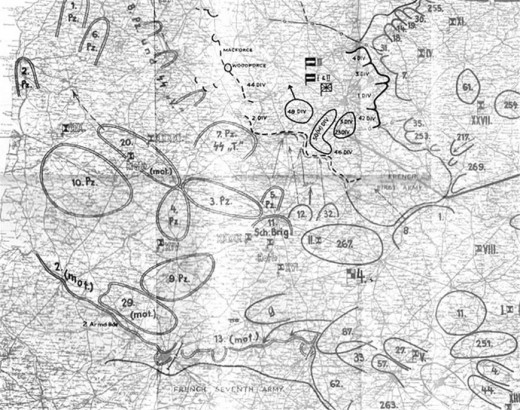 The situation May 24, 1940. Six panzer divisions are on the left. The corridor is center.