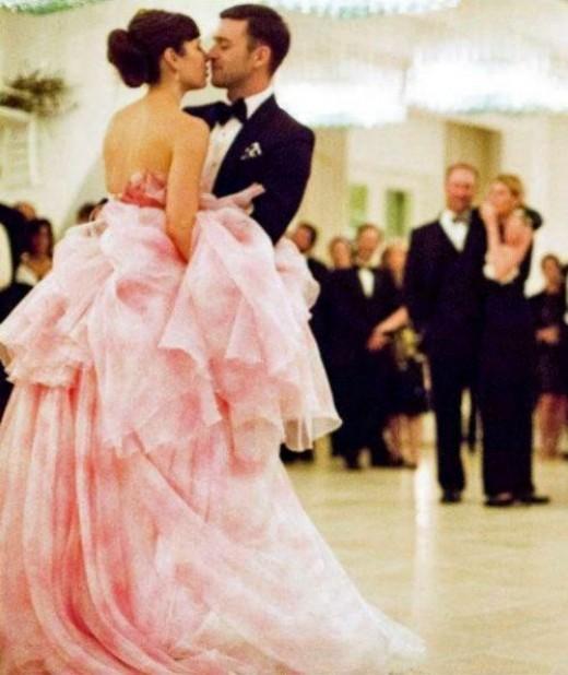 Jessica Biel Pink Wedding Gown