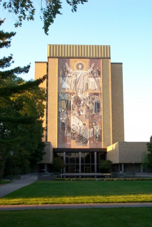 "The mural of Christ on the south side of the Notre Dame library building, popularly known as ""Touchdown Jesus"", is clearly visible from the football stadium and has become an iconic feature of the Notre Dame campus."