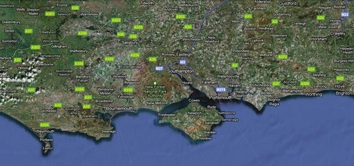 The New Forest is located between the towns of Bournemouth and Southampton on the South Coast of England.  Click on the map for an interactive version from Google maps.