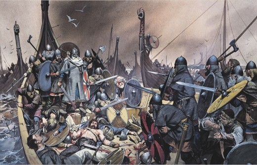 Olaf Tryggvason cornered at Svold - this is when he stepped onto the wall of his ship and stepped off in his armour, sword and shield in hand