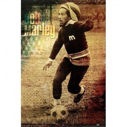 Bob Marley With Soccer Ball ( Music Poster Print )