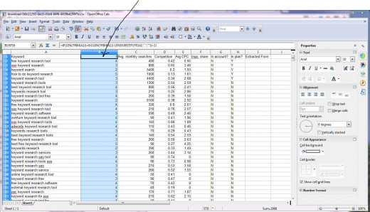 Add a keyword count calculation formula and copy it down the column.