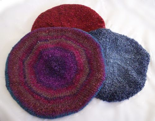 Berets knit in the round