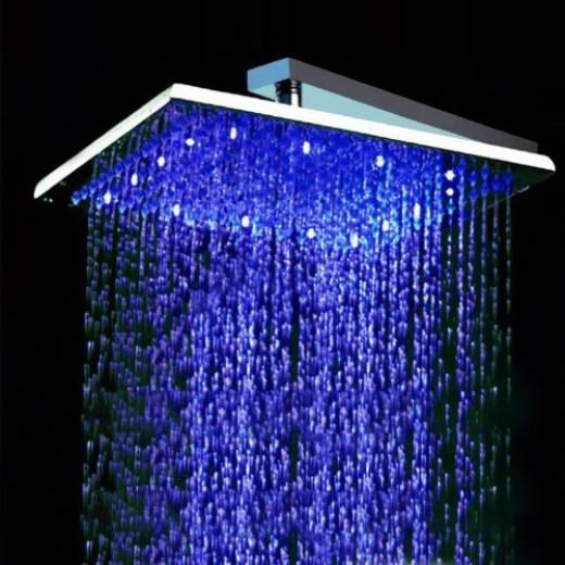 rain showerhead with blue lighting