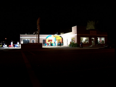 Nightime view of MJ's Depot when space was donated for a community Haunted House.