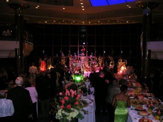 Some of the elaborate food displays for one of the 2 formal evenings